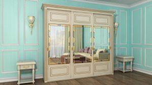 Шкаф купе с фрезеровкой и зеркальным панно Новошахтинск