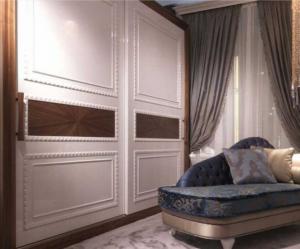 Шкаф купе с эмитацией филенки и фигурной накладкой, ламинация, шпон, эмаль Новошахтинск