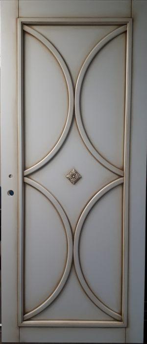 Межкомнатная дверь в профиле массив (эмаль с патиной) Новошахтинск